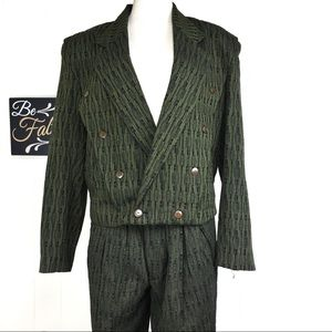 Vintage 80s Olive Green Pant Suit Set